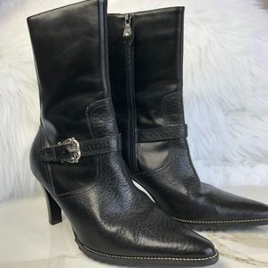 Unisa Leather Pointed Black Boots  Size 7